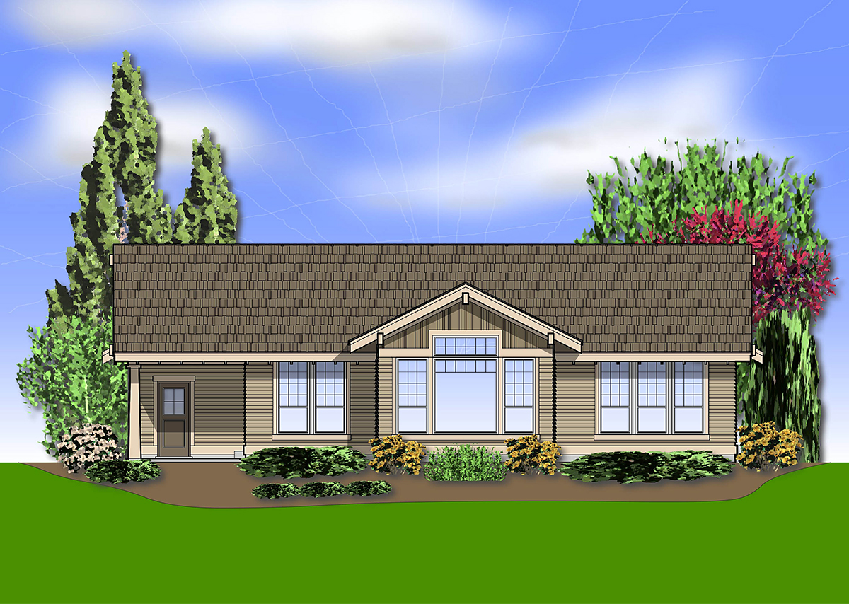 Craftsman House Plan 81237 with 2 Beds, 2 Baths, 3 Car Garage Rear Elevation