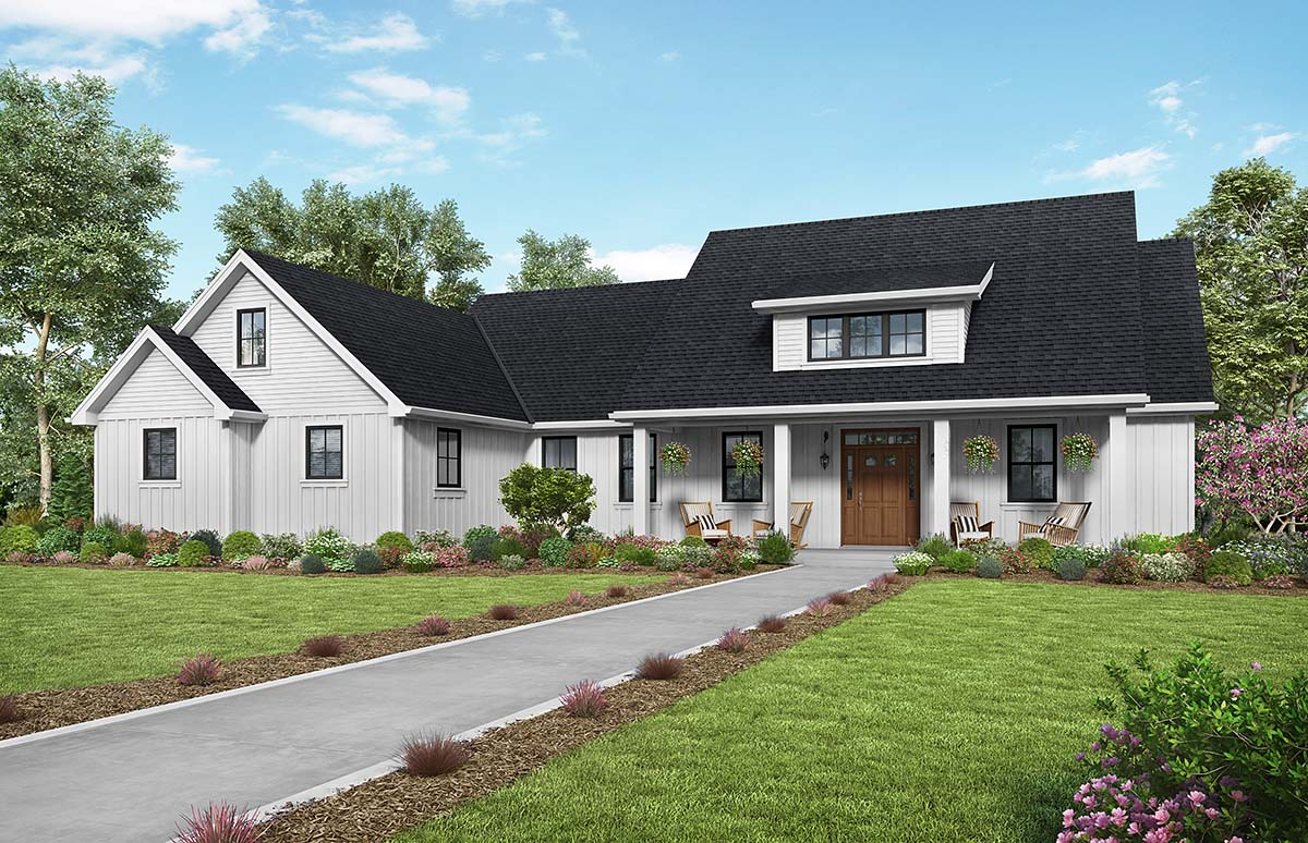 Contemporary, Country, Farmhouse, Southern House Plan 81240 with 3 Beds, 3 Baths, 2 Car Garage Elevation