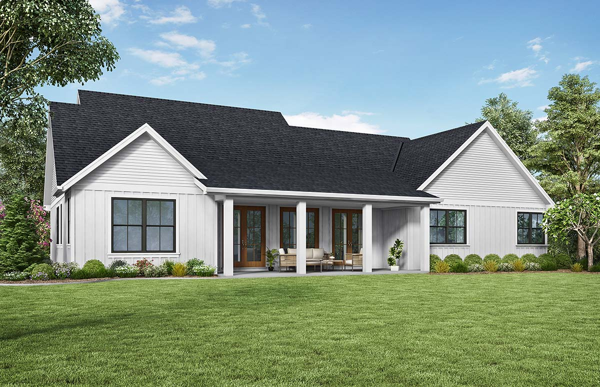 Contemporary , Country , Farmhouse , Southern House Plan 81240 with 3 Beds, 3 Baths, 2 Car Garage Rear Elevation
