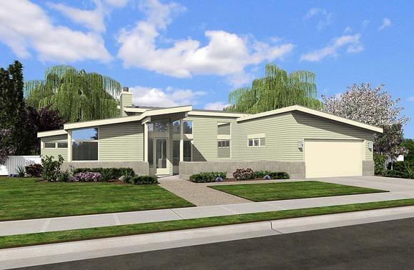 Contemporary, Farmhouse, Prairie House Plan 81250 with 2 Beds, 2 Baths, 2 Car Garage Elevation