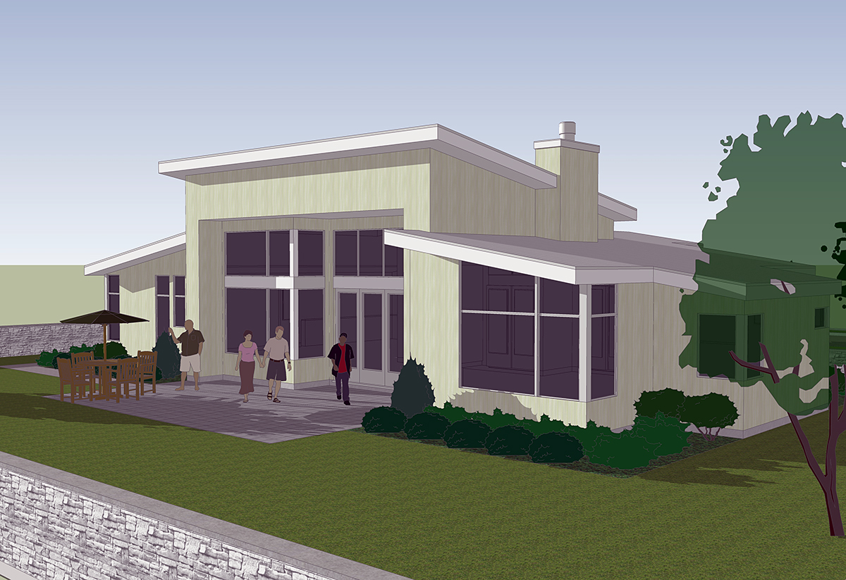 Contemporary, Farmhouse, Prairie House Plan 81250 with 2 Beds, 2 Baths, 2 Car Garage Rear Elevation