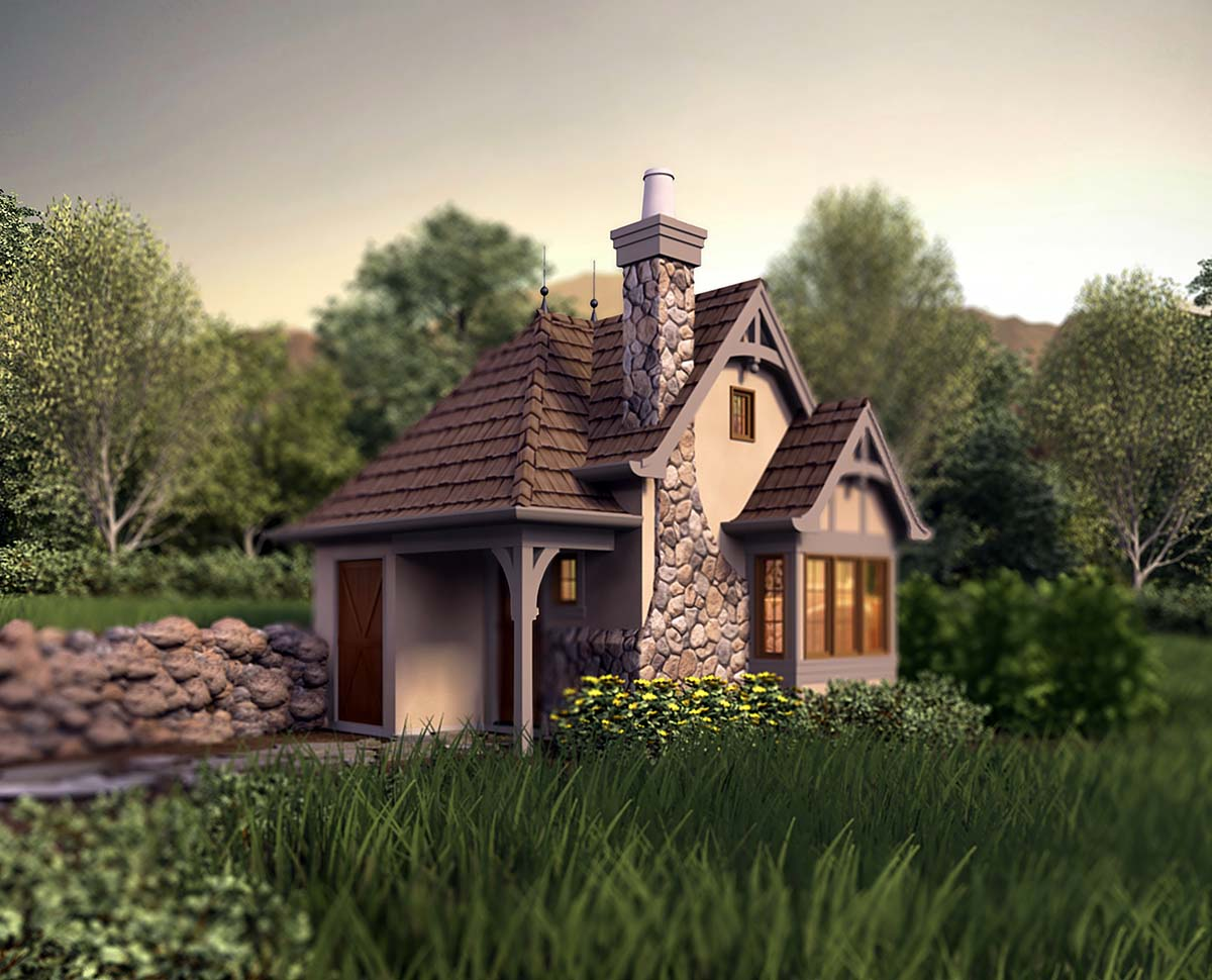 Cabin, Cottage, Narrow Lot, One-Story House Plan 81260 with 1 Beds, 1 Baths Elevation