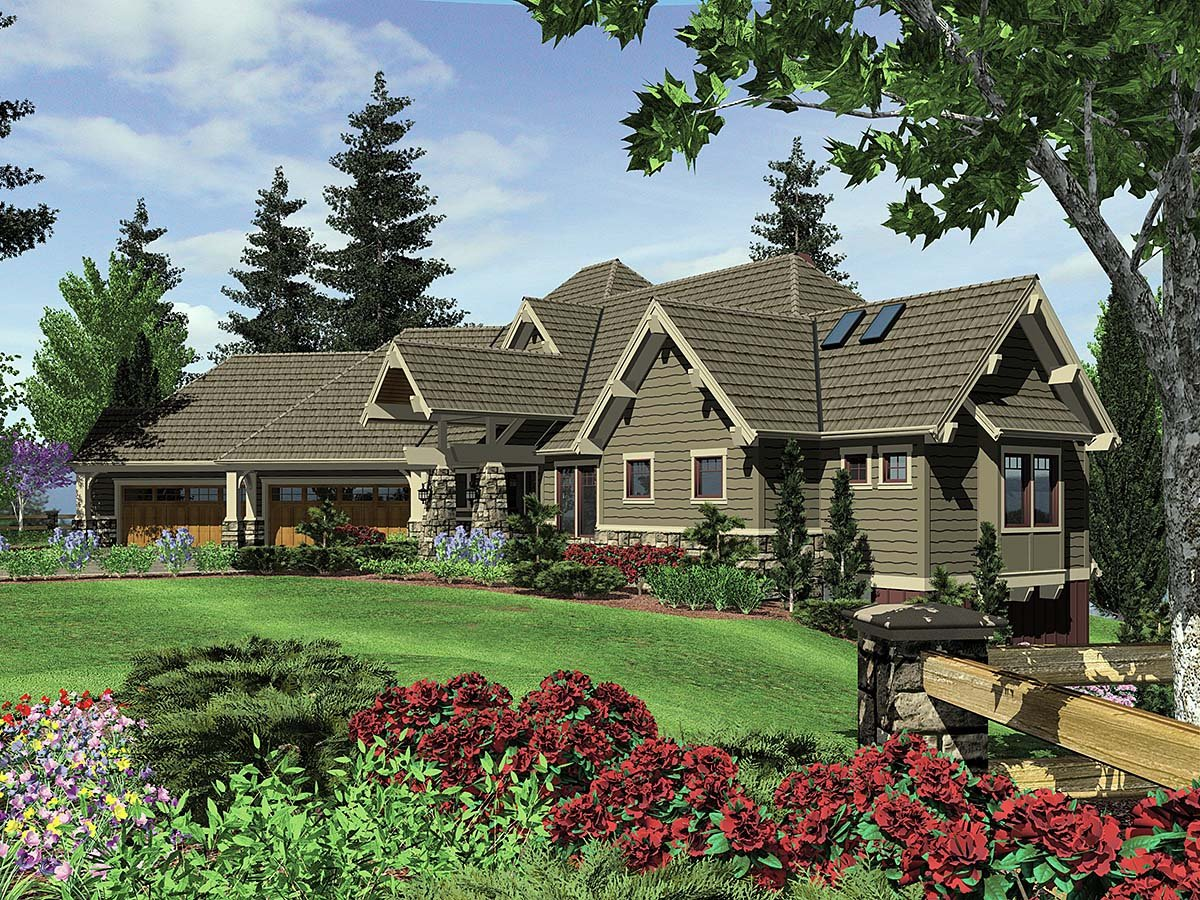 Craftsman, Tuscan House Plan 81271 with 4 Beds, 5 Baths, 4 Car Garage Elevation