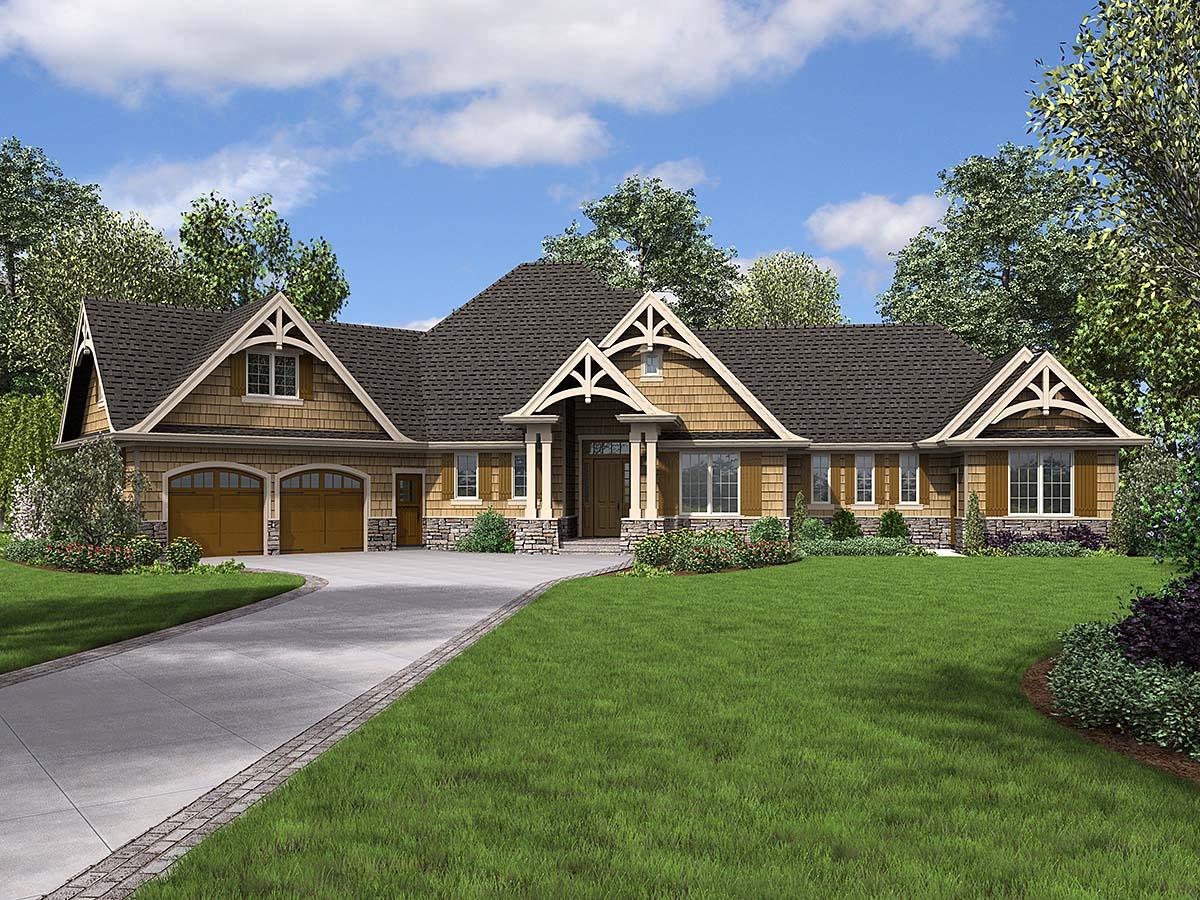 Bungalow, Craftsman, Tuscan House Plan 81272 with 4 Beds, 4 Baths, 2 Car Garage Elevation