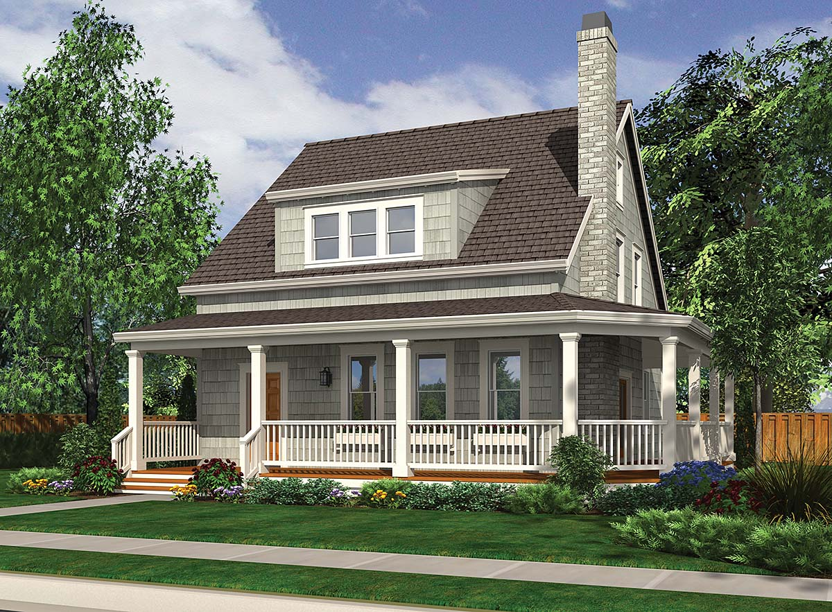 Cabin, Cottage, Country, Narrow Lot House Plan 81290 with 3 Beds, 3 Baths Elevation