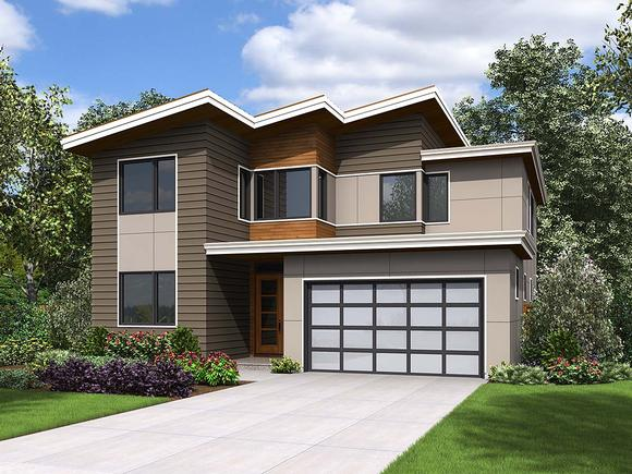 Contemporary, Modern House Plan 81297 with 4 Beds, 3 Baths, 2 Car Garage Elevation
