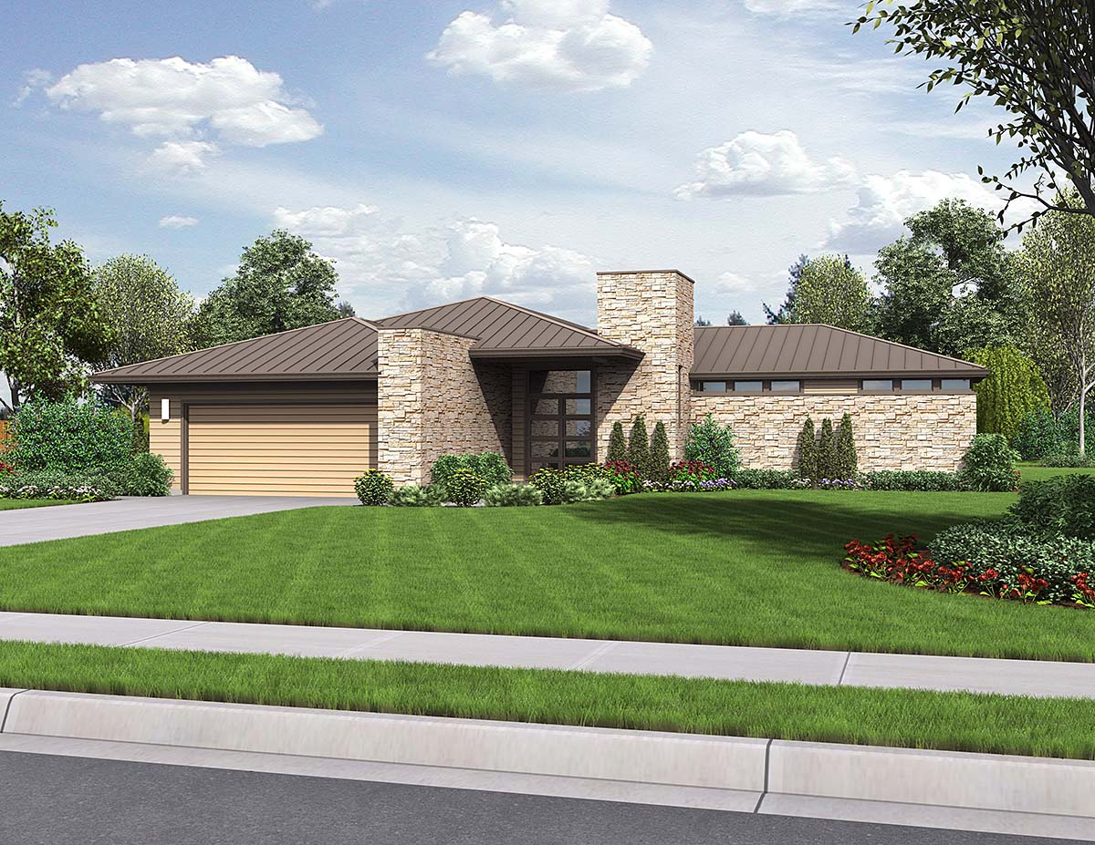 Contemporary, Modern, Prairie House Plan 81298 with 3 Beds, 3 Baths, 2 Car Garage Elevation