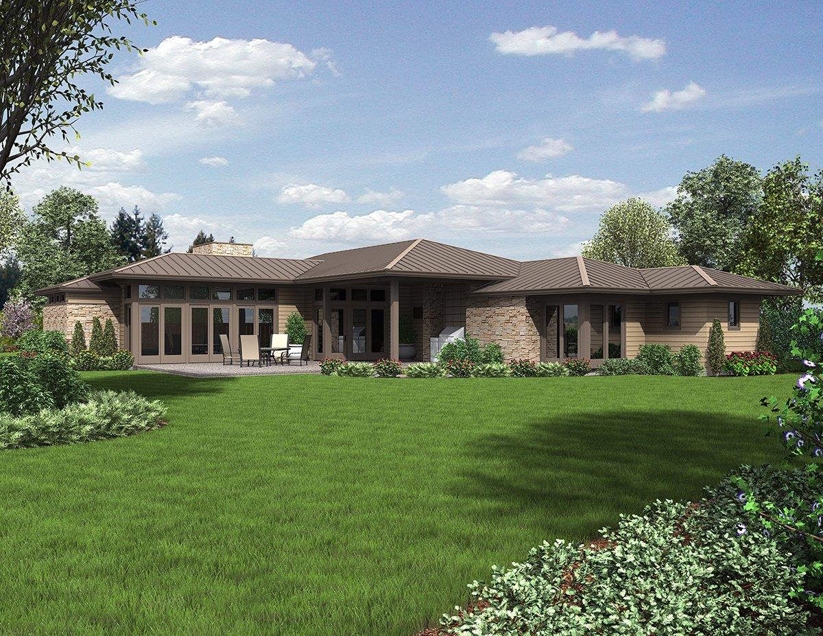 Contemporary, Modern, Prairie House Plan 81298 with 3 Beds, 3 Baths, 2 Car Garage Rear Elevation