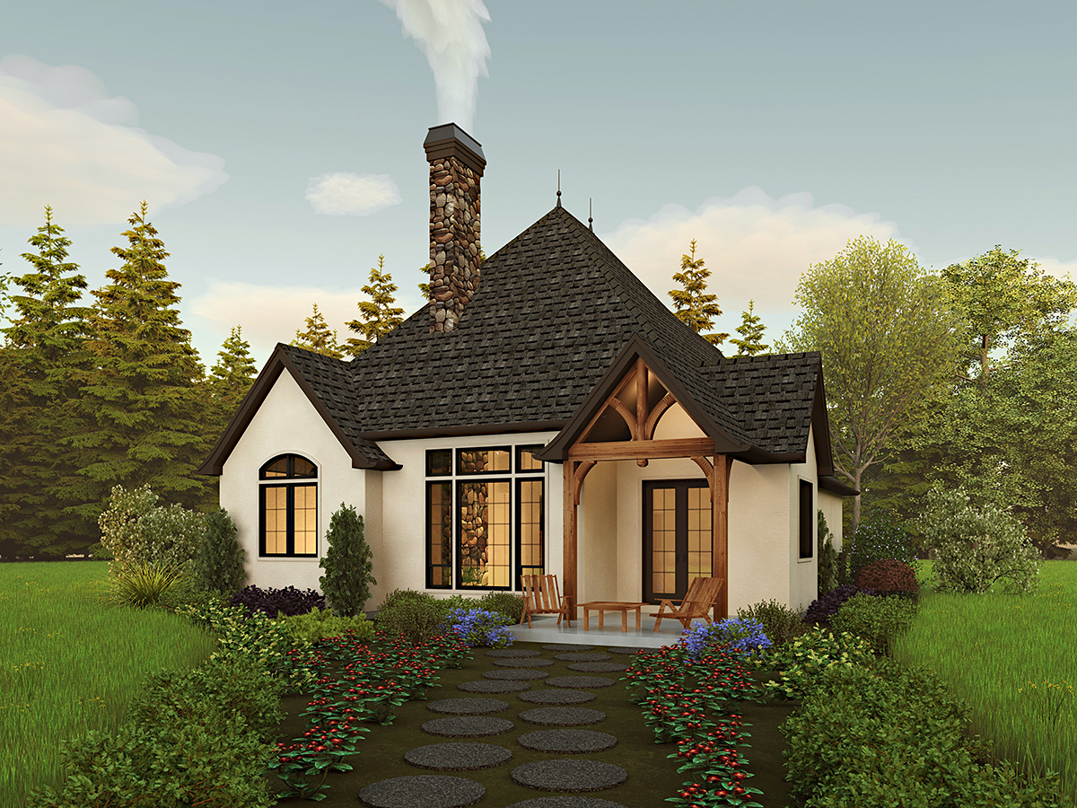 Cottage, European, Traditional House Plan 81309 with 2 Beds, 2 Baths, 2 Car Garage Rear Elevation
