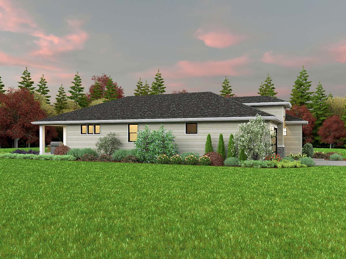 Contemporary, Prairie House Plan 81311 with 3 Beds, 2 Baths, 2 Car Garage Picture 2