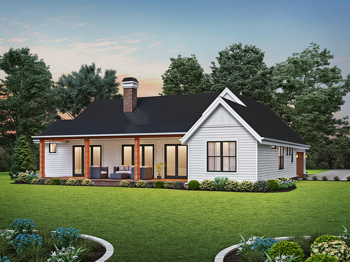 Contemporary, Farmhouse, Ranch House Plan 81313 with 3 Beds, 3 Baths, 2 Car Garage Rear Elevation