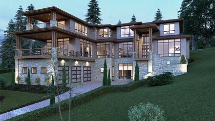 Contemporary, Modern House Plan 81902 with 5 Beds, 6 Baths, 3 Car Garage