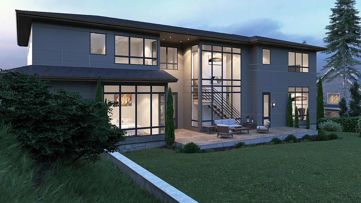 Contemporary, Modern House Plan 81902 with 5 Beds, 6 Baths, 3 Car Garage Rear Elevation