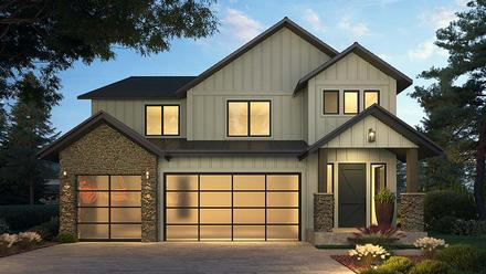 Craftsman Farmhouse Elevation of Plan 81907