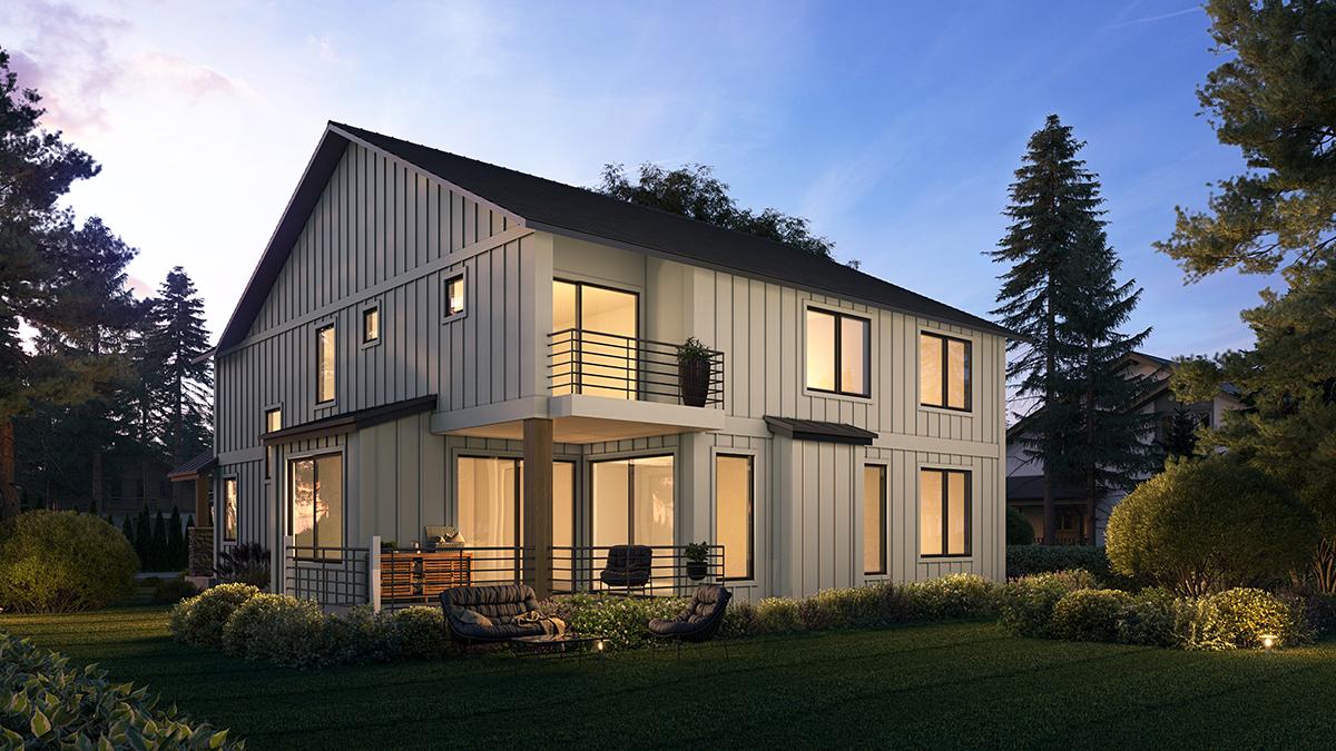 Craftsman Farmhouse Rear Elevation of Plan 81907