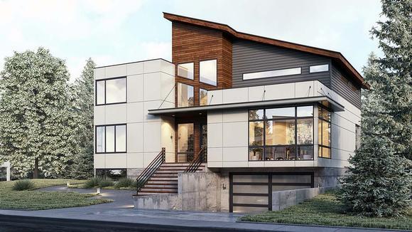 Modern House Plan 81914 with 4 Beds, 4 Baths, 2 Car Garage Elevation