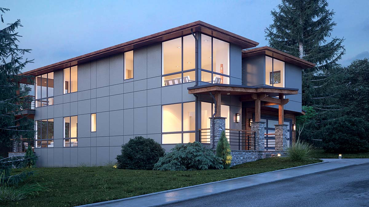 Modern House Plan 81920 with 4 Beds, 4 Baths, 3 Car Garage Picture 2