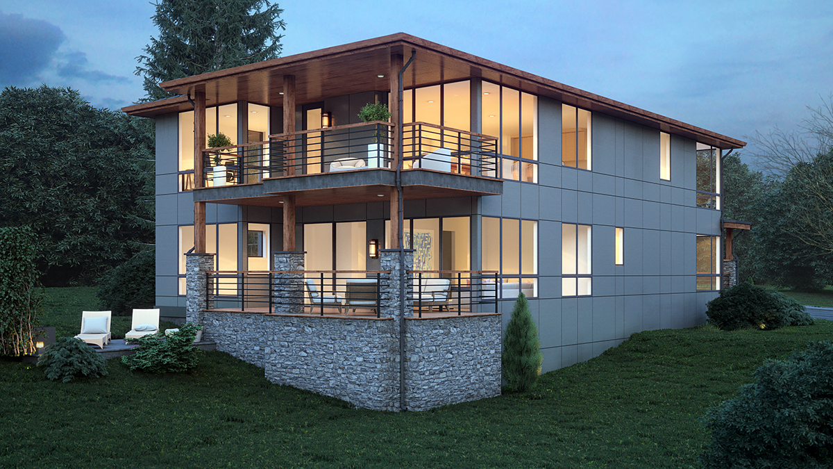 Modern House Plan 81920 with 4 Beds, 4 Baths, 3 Car Garage Rear Elevation