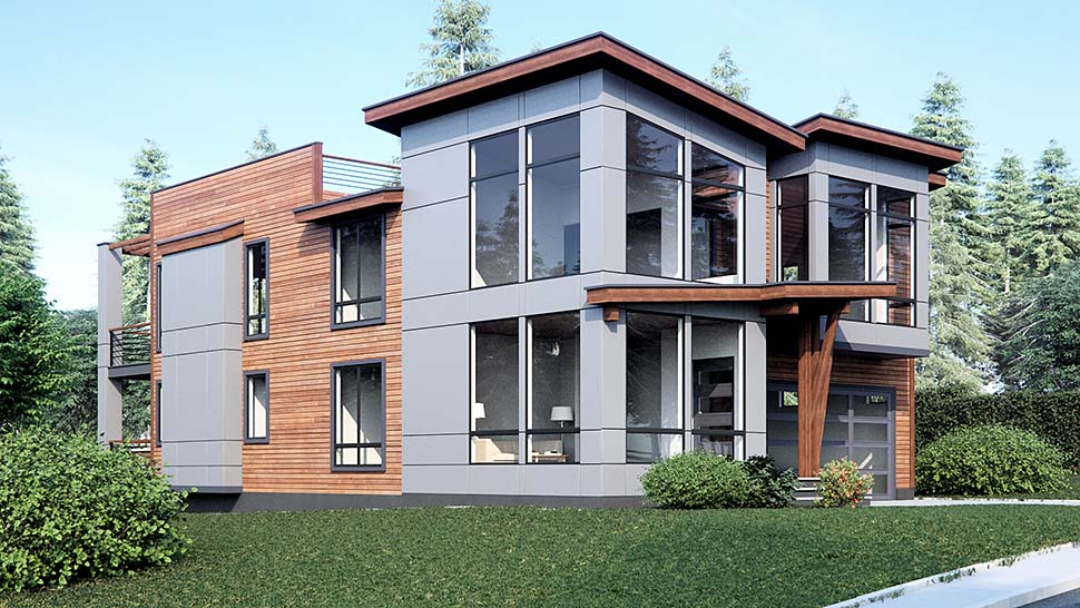 Contemporary, Modern House Plan 81925 with 4 Beds, 3 Baths, 3 Car Garage Picture 2