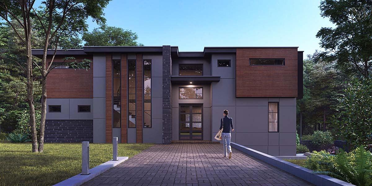 Modern House Plan 81928 with 4 Beds, 5 Baths, 2 Car Garage Elevation