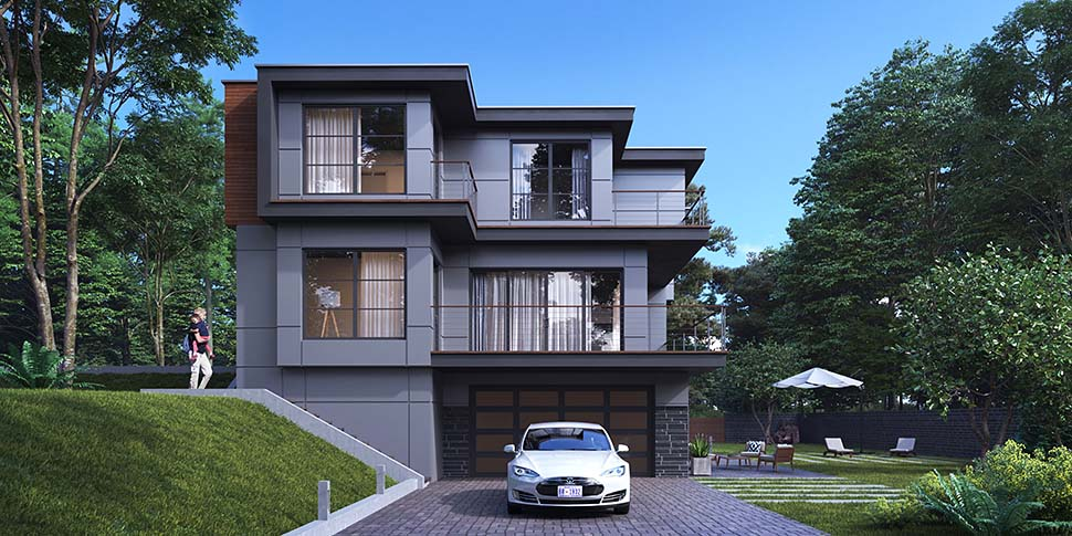 Modern House Plan 81928 with 4 Beds, 5 Baths, 2 Car Garage Picture 2