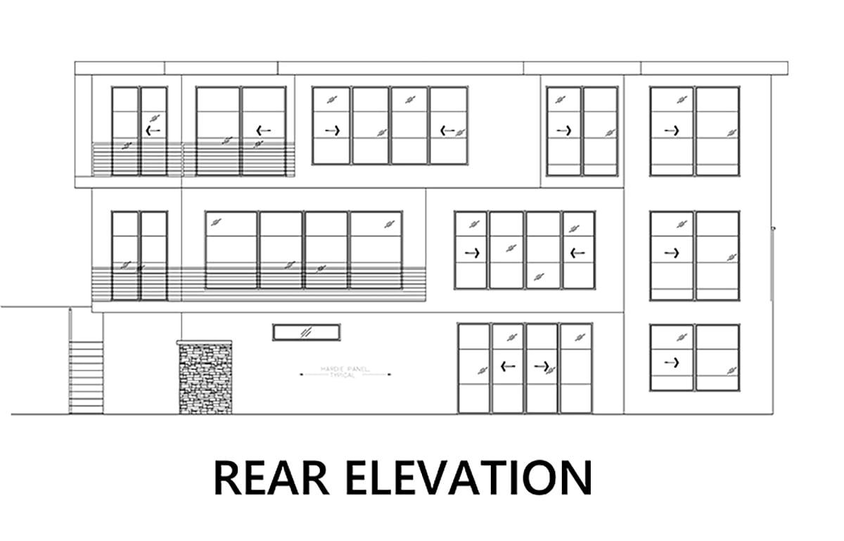 Modern House Plan 81928 with 4 Beds, 5 Baths, 2 Car Garage Rear Elevation
