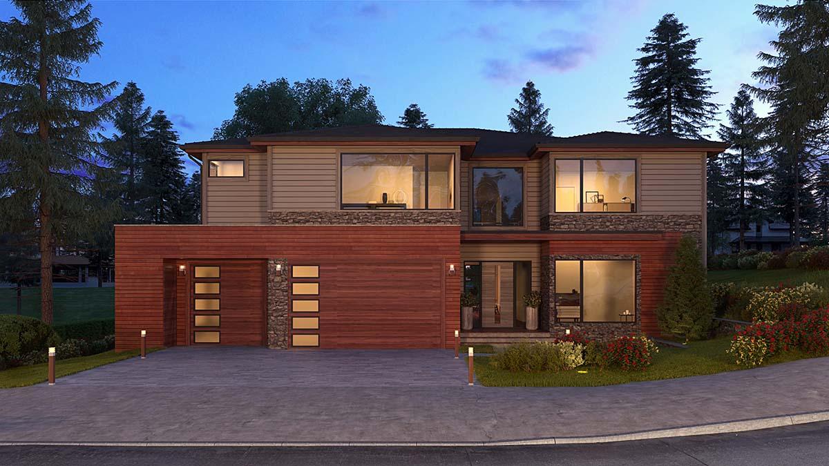 Contemporary, Modern, Prairie House Plan 81929 with 5 Beds, 6 Baths, 3 Car Garage Elevation