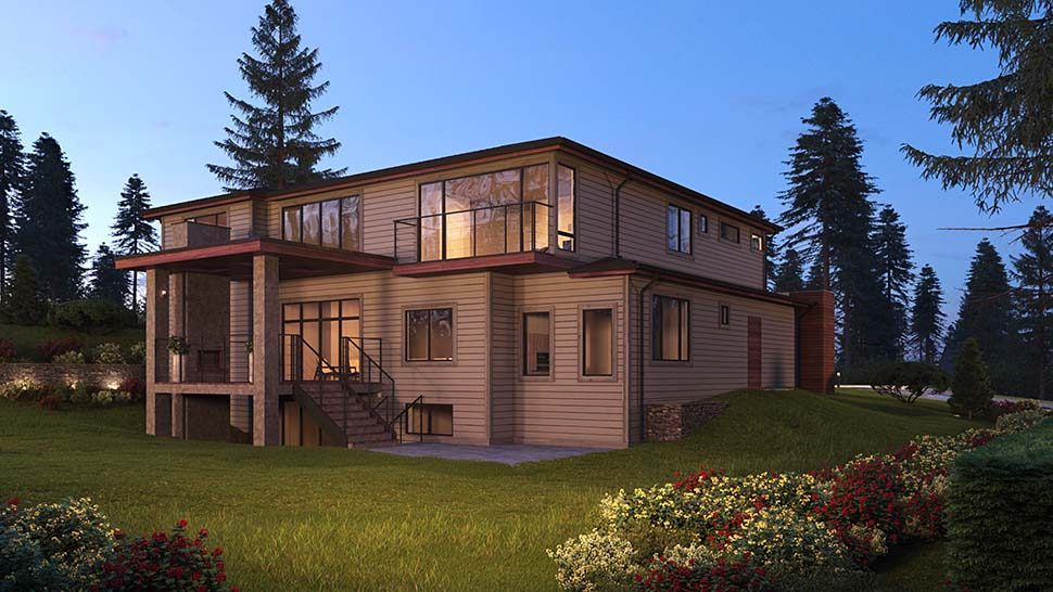 Contemporary, Modern, Prairie House Plan 81929 with 5 Beds, 6 Baths, 3 Car Garage Picture 2