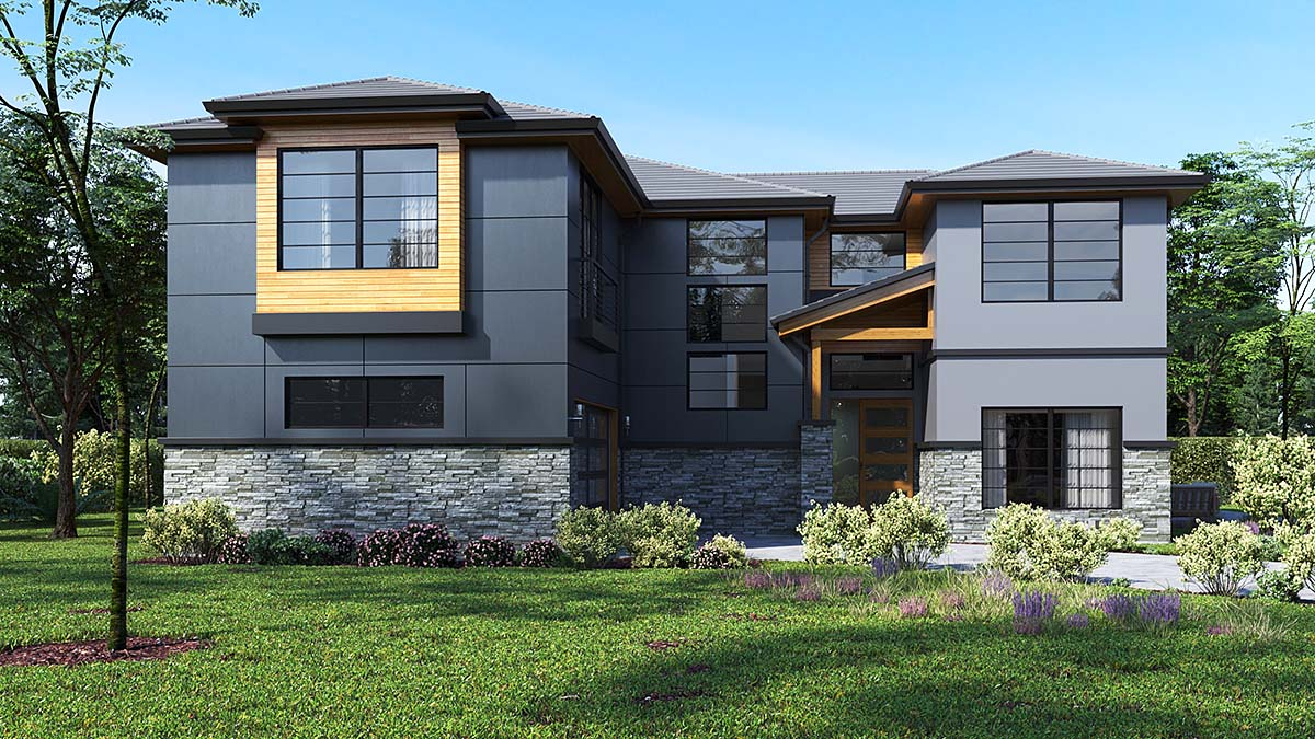Contemporary, Modern House Plan 81930 with 4 Beds, 3 Baths, 2 Car Garage Elevation