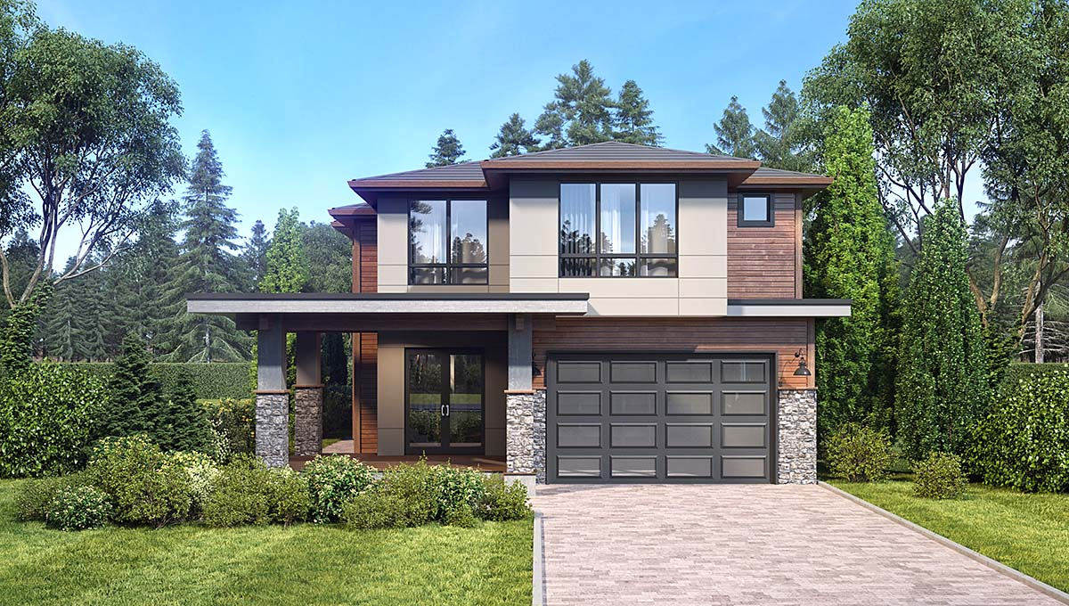 Contemporary, Modern House Plan 81931 with 4 Beds, 4 Baths, 2 Car Garage Elevation