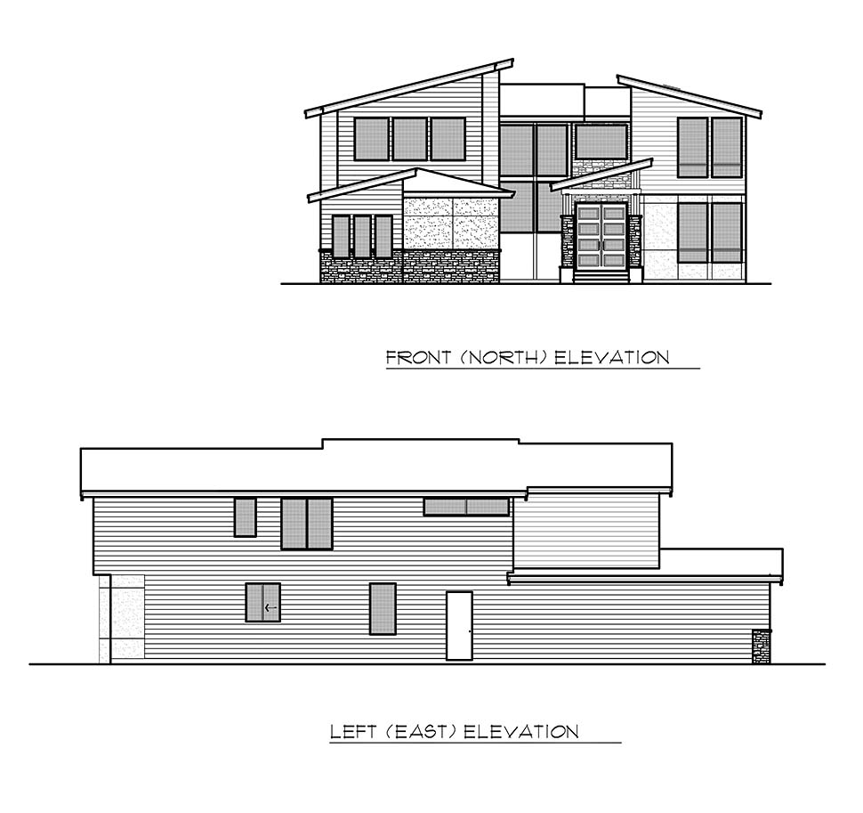 Contemporary, Modern House Plan 81932 with 4 Beds, 3 Baths, 3 Car Garage Picture 3