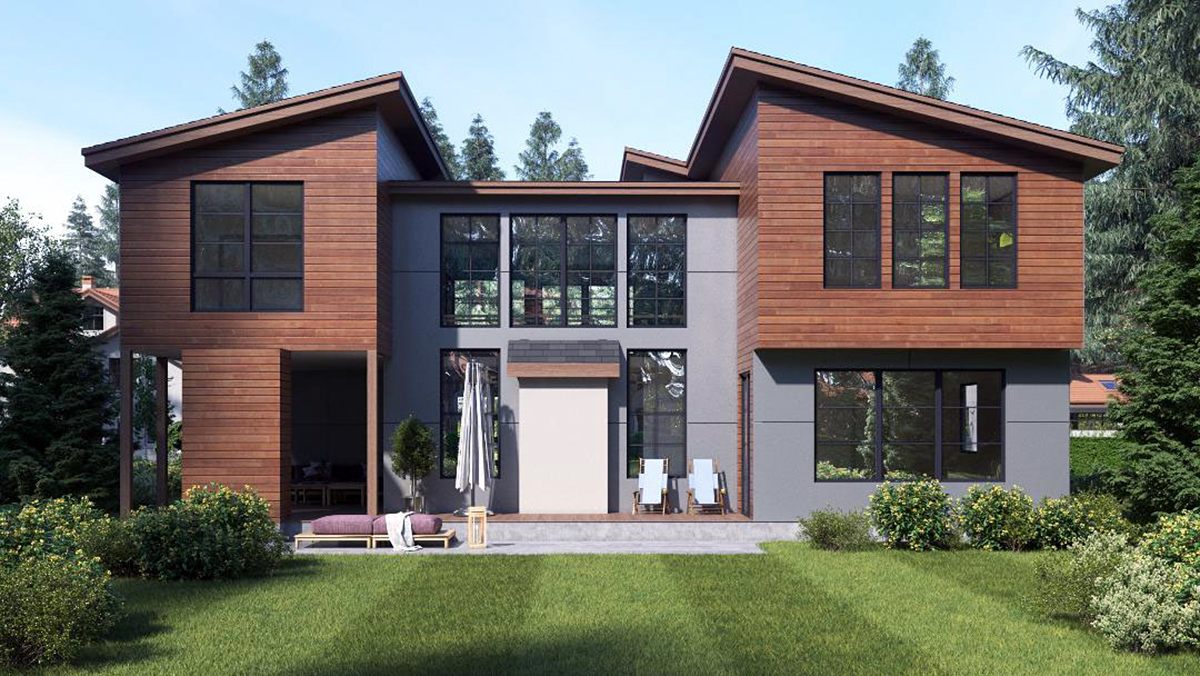 Contemporary, Modern House Plan 81932 with 4 Beds, 3 Baths, 3 Car Garage Rear Elevation