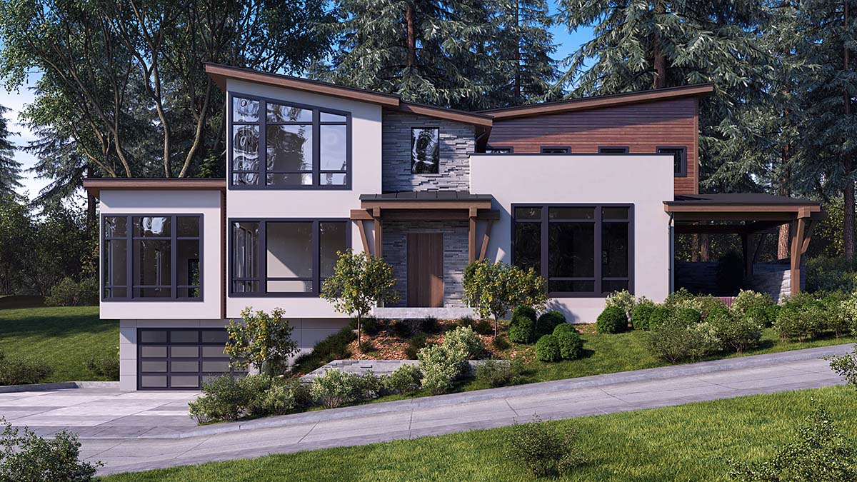 Modern House Plan 81933 with 3 Beds, 4 Baths, 6 Car Garage Elevation