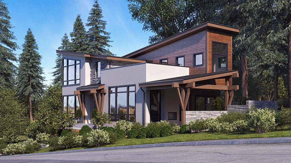 Modern House Plan 81933 with 3 Beds, 4 Baths, 6 Car Garage Picture 2