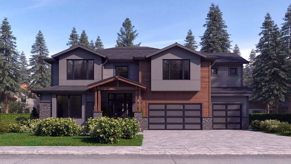 Contemporary, Craftsman, Modern House Plan 81944 with 4 Beds, 4 Baths, 3 Car Garage Elevation
