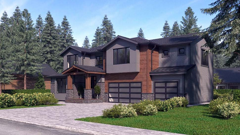 Contemporary, Craftsman, Modern House Plan 81944 with 4 Beds, 4 Baths, 3 Car Garage Picture 2