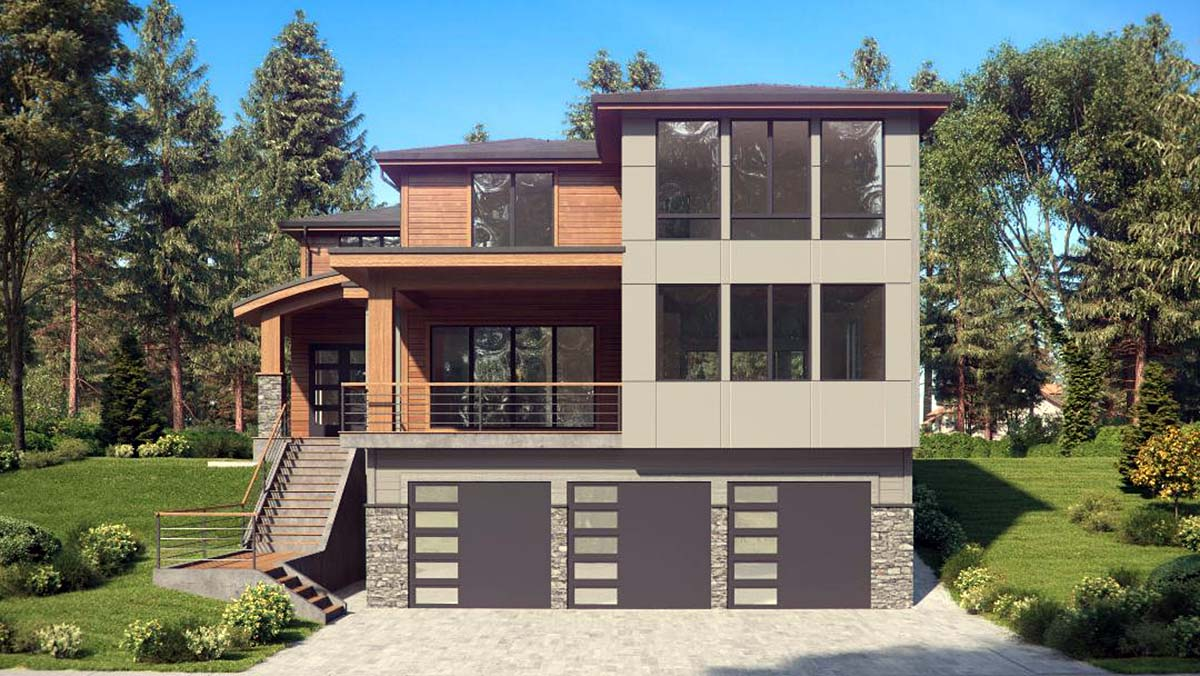 Contemporary, Modern House Plan 81950 with 4 Beds, 4 Baths, 3 Car Garage Picture 1