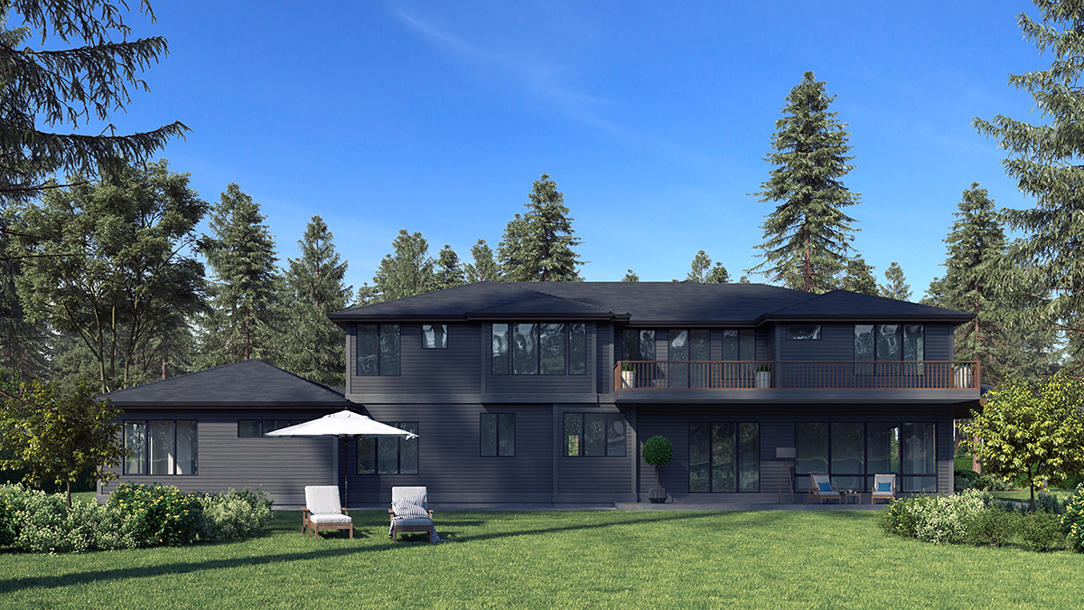 Contemporary, Modern House Plan 81953 with 6 Beds, 6 Baths, 3 Car Garage Rear Elevation