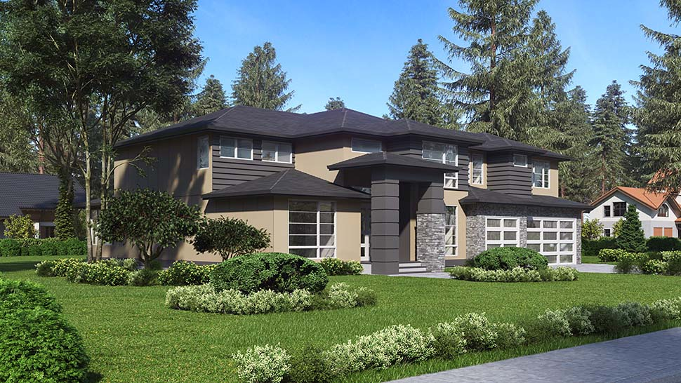 Contemporary, Modern House Plan 81961 with 4 Beds, 3 Baths, 3 Car Garage Picture 2