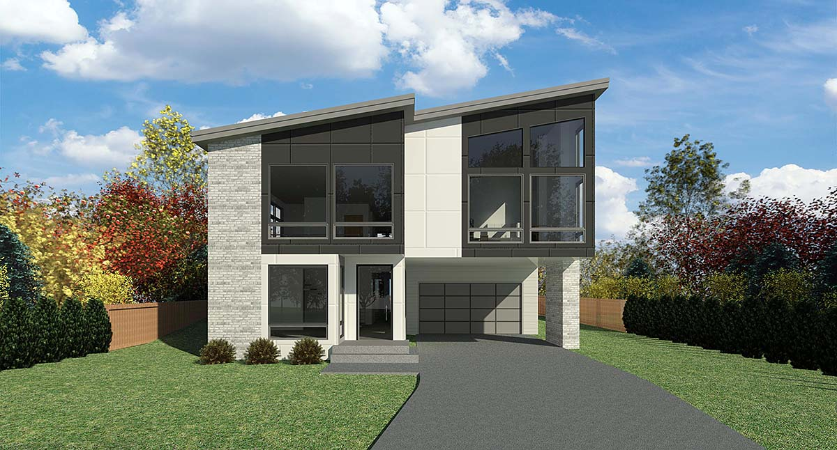 Contemporary, Modern House Plan 81964 with 4 Beds, 3 Baths, 3 Car Garage Elevation
