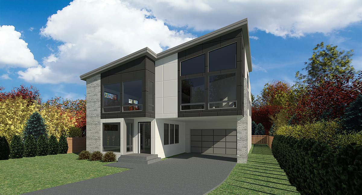 Contemporary, Modern House Plan 81964 with 4 Beds, 3 Baths, 3 Car Garage Picture 1
