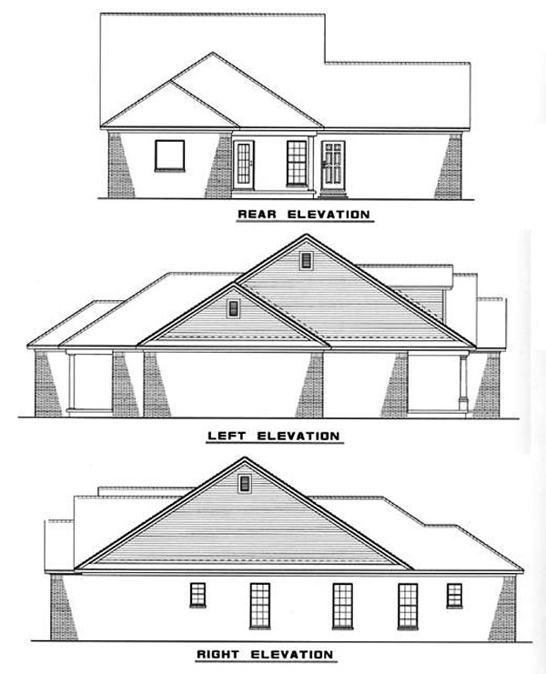 Country House Plan 82009 with 3 Beds, 2 Baths, 2 Car Garage Rear Elevation