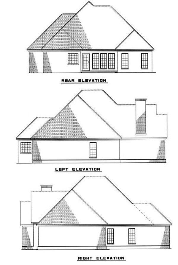 European House Plan 82011 Rear Elevation