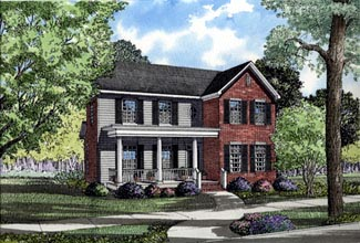 Colonial Farmhouse Traditional House Plan 82014 Elevation