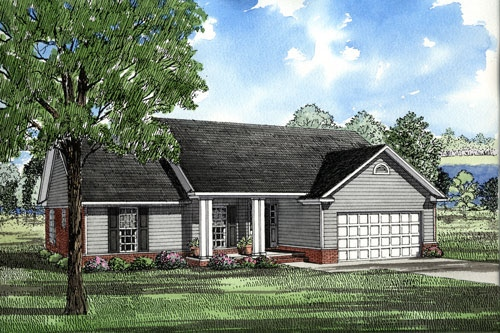 Ranch House Plan 82026 with 3 Beds, 2 Baths, 2 Car Garage Elevation