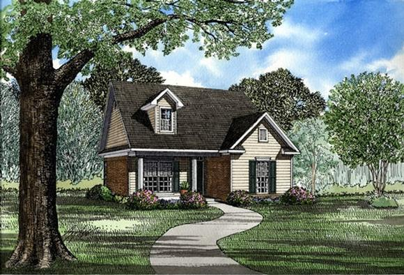 Cape Cod, Country House Plan 82029 with 2 Beds, 1 Baths, 2 Car Garage Elevation