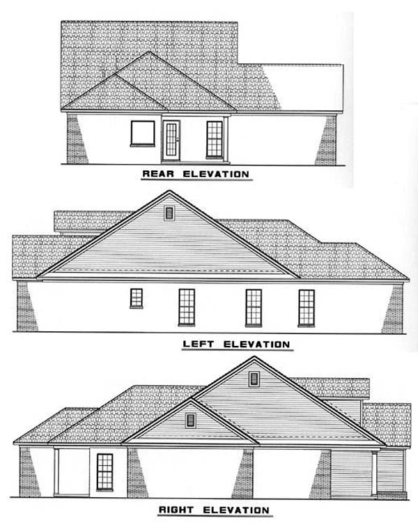 Cape Cod, Country House Plan 82043 with 3 Beds, 2 Baths, 2 Car Garage Rear Elevation