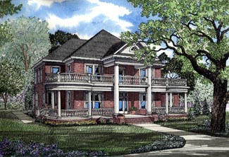Colonial Plantation House Plan 82054 Elevation