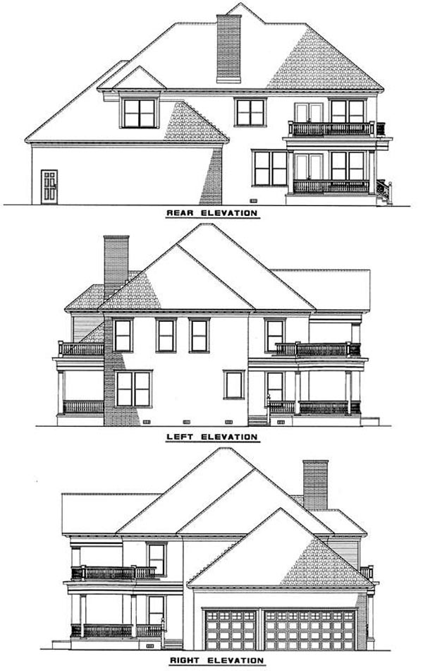 Colonial Plantation House Plan 82054 Rear Elevation
