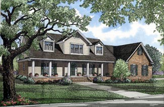 Colonial Country Farmhouse House Plan 82059 Elevation